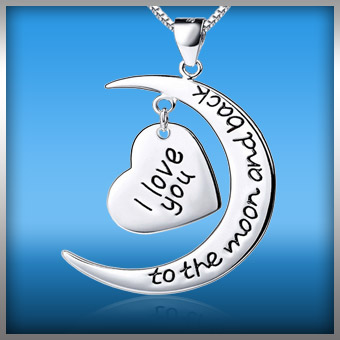 I love you to the moon and back heart charm necklace mozeypictures Choice Image
