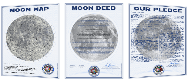 Lunar Land Deed, Lunar Land Map and Lunar Land Pledge